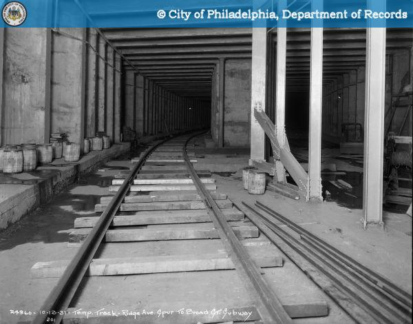 Temporary Track - Ridge Avenue Spur to Broad Street Subway.
