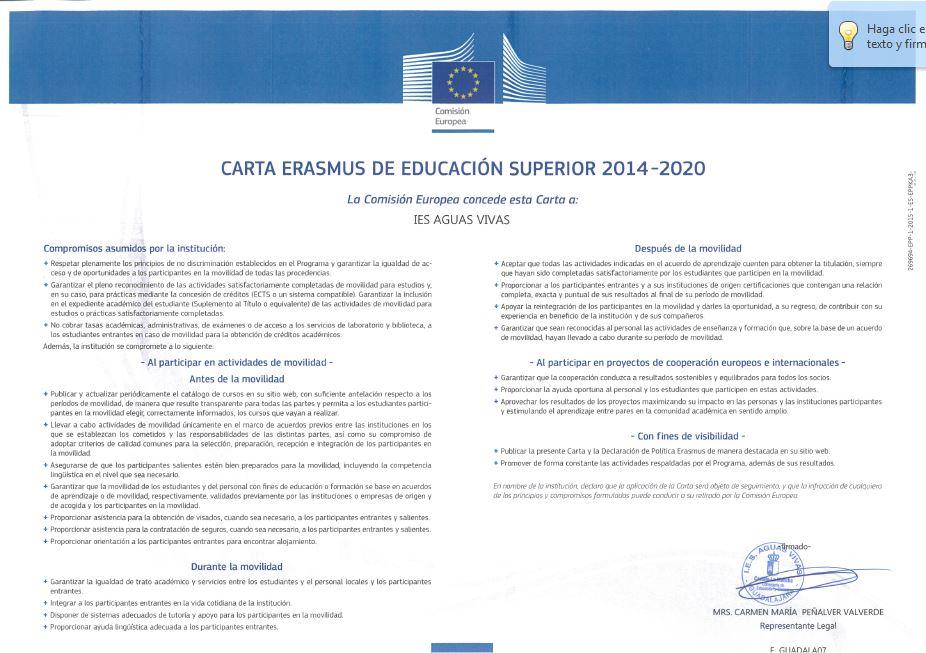 Carta Erasmus de Educación Superior 2014-2020