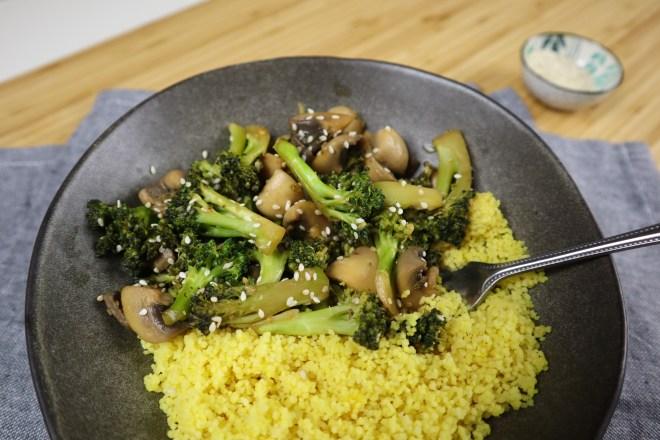 cous-cous cu broccoli si ciuperci