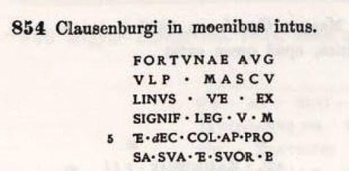 A Szamösközy által leirt egyik legkorábbi római felirat (CIL III 854) (Arachne Köln open access)