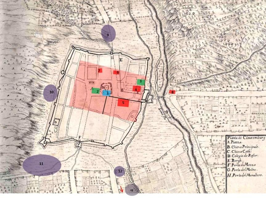 Colonia Aurelia Napocensis térképe Visconti alaprajzára vetitve