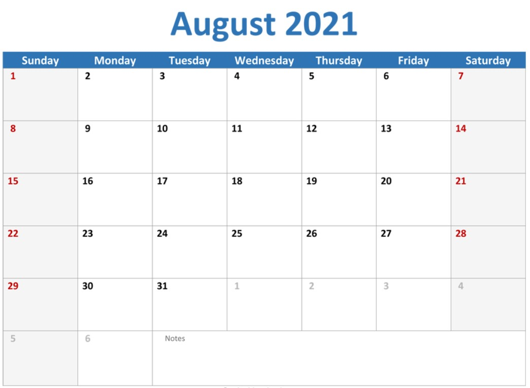 It is also a good month to gain holiday motivation before. August 2021 Callendar With Holiday Free | Calendar ...