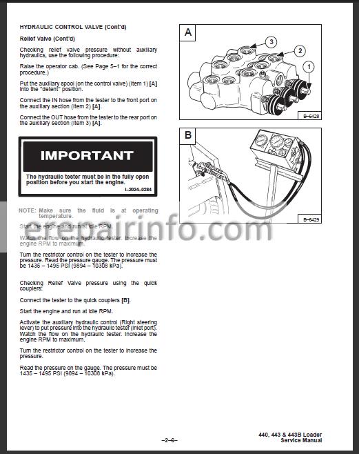 Bobcat 440 443 /& 443B Skid Steer Workshop Manual