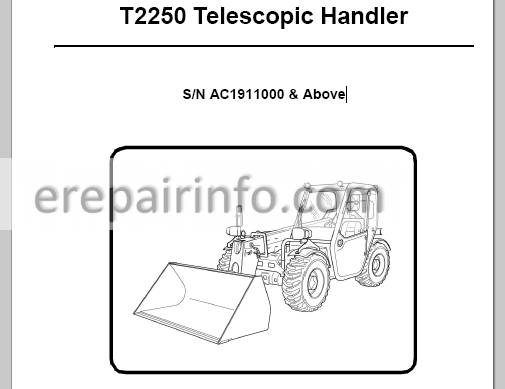 Bobcat T2250 Service Manual Telescopic Handler 6987147 2