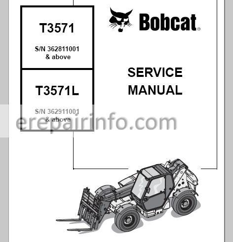 Bobcat T3571 T3571L Service Manual Telescopic Handler