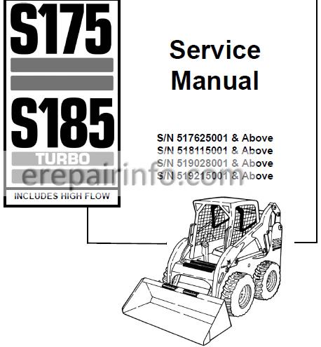 Bobcat S175 S185 Service Manual Skid Steer Loader 6901828