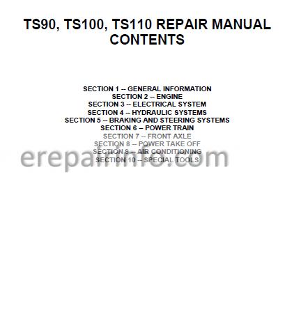New Holland TS90 TS100 TS110 Repair Manual on