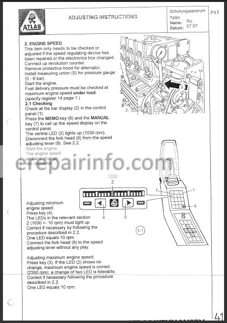 Terex Atlas 1704 1804 Workshop Manual Excavator