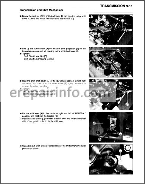 Kawasaki Mule 3000 3010 3020 Service Manual Atv Erepairinfo Com