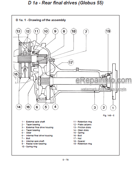 Landini Globus 55 65 80 Training Repair Manual Tractors