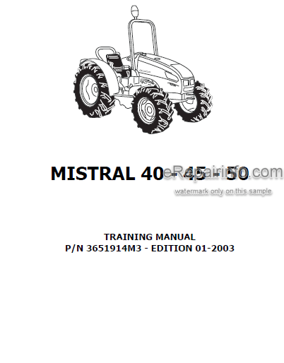 Landini Mistral 40 45 50 Training Repair Manual Tractors