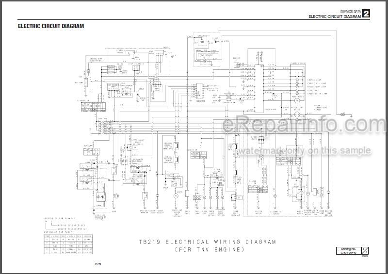 Takeuchi TB219 Workshop Manual Mini Excavator