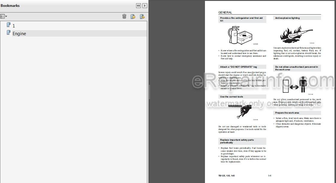 Takeuchi Tb125 Tb135 Tb145 Workshop Manual Compact Excavator Cg4e004  U2013 Erepairinfo Com