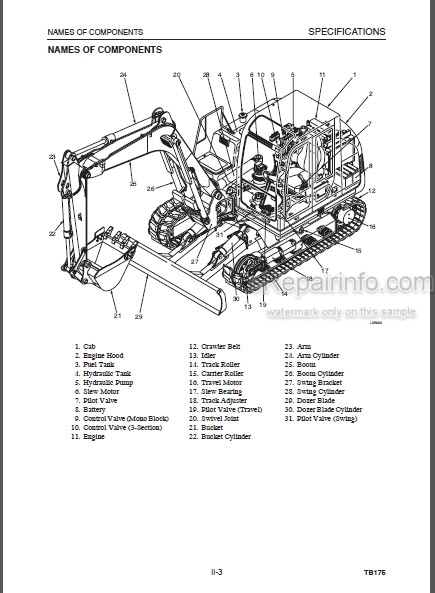 Takeuchi TB175 Workshop Manual Compact Excavator
