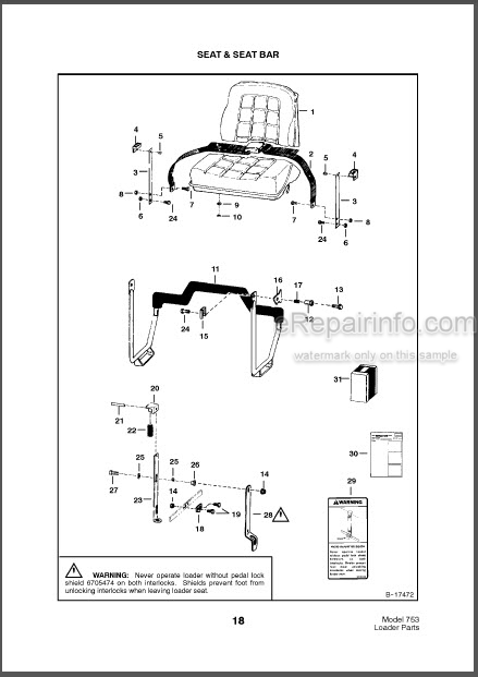Bobcat 753 Parts Catalog Skid Steer Loader 6570944