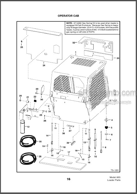 Bobcat 863 Parts Catalog Skid Steer Loader 6724560