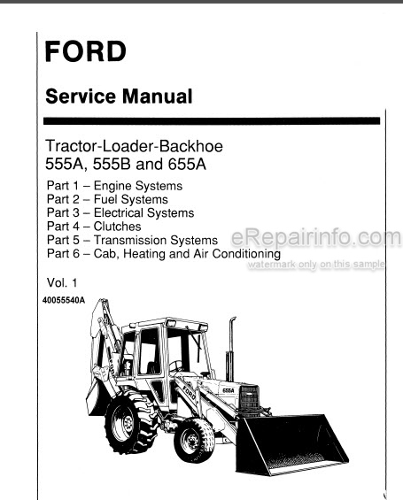 Ford New Holland 555a 555b 655a Service Manual Tractor
