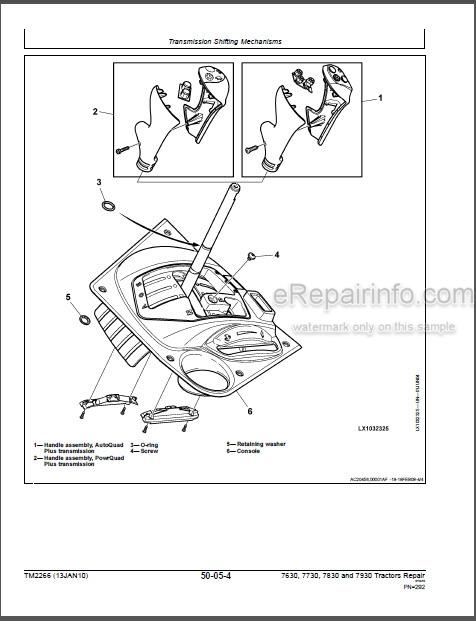 John Deere 7630 7730 7830 7930 Repair Manual Tractors