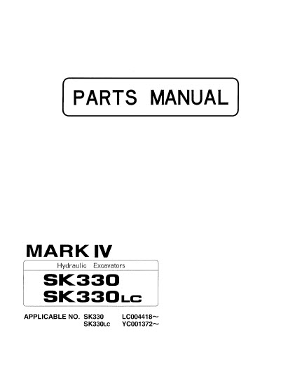 Kobelco Mark IV SK330 Mark IV 330LC Parts Manual Hydraulic