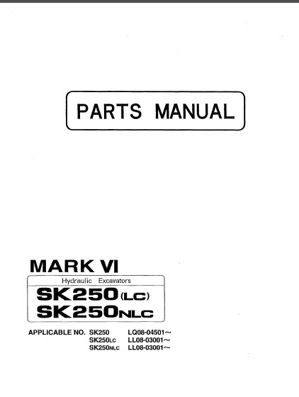 Kobelco Mark VI SK250LC SK250NLC Parts Manual Hydraulic