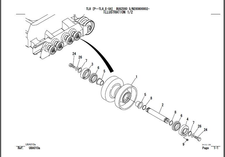 Takeuchi TL8 Parts Manual Track Loader BU8Z000