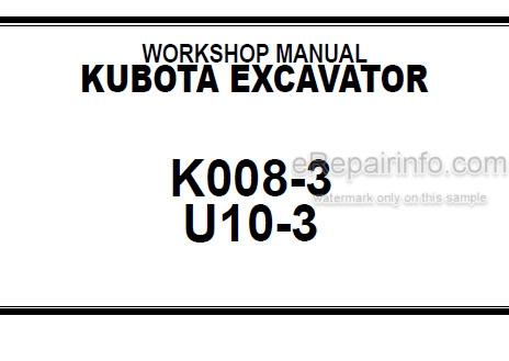 Kubota K008-3 U10-3 Workshop Manual Excavator
