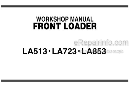 Kubota LA513 LA723 LA853 Workshop Manual Front Loader