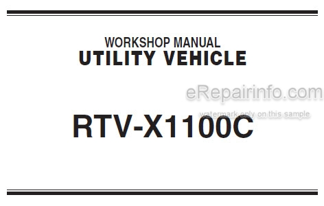 Kubota RTV-X1100C Workshop Manual Utility Vehicle