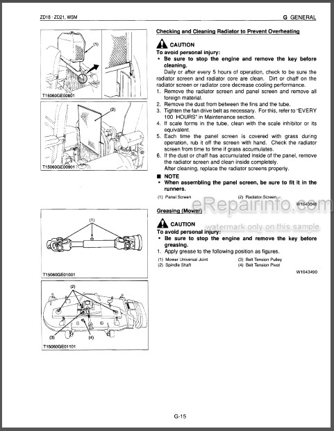 Kubota ZD18 ZD21 Workshop Manual Early Zero Turn Mower