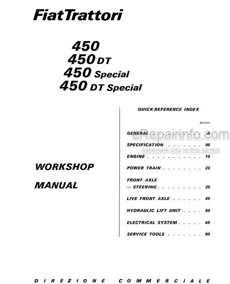 Fiat 450 450DT 450 Special 450DT Special Workshop Manual