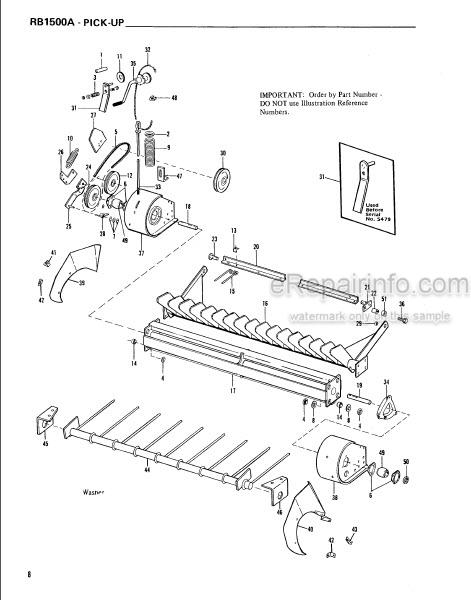 Gehl RA1500A Service Parts Manual Baler 901959