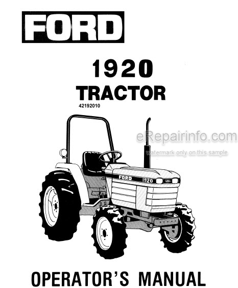 Ford 1920 Operators Manual Tractor 42192010