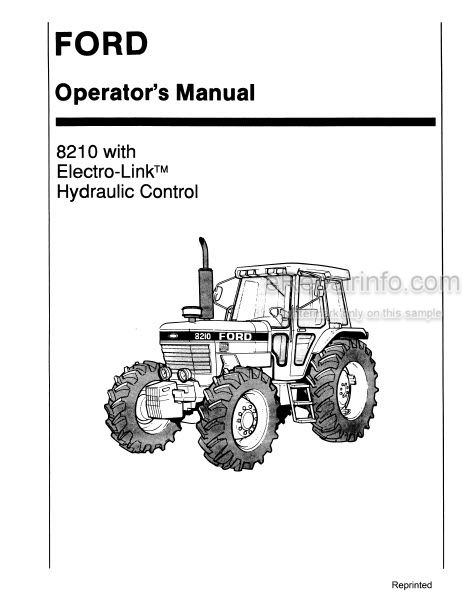 Ford 8210 Operators Manual And Supplement Tractor With