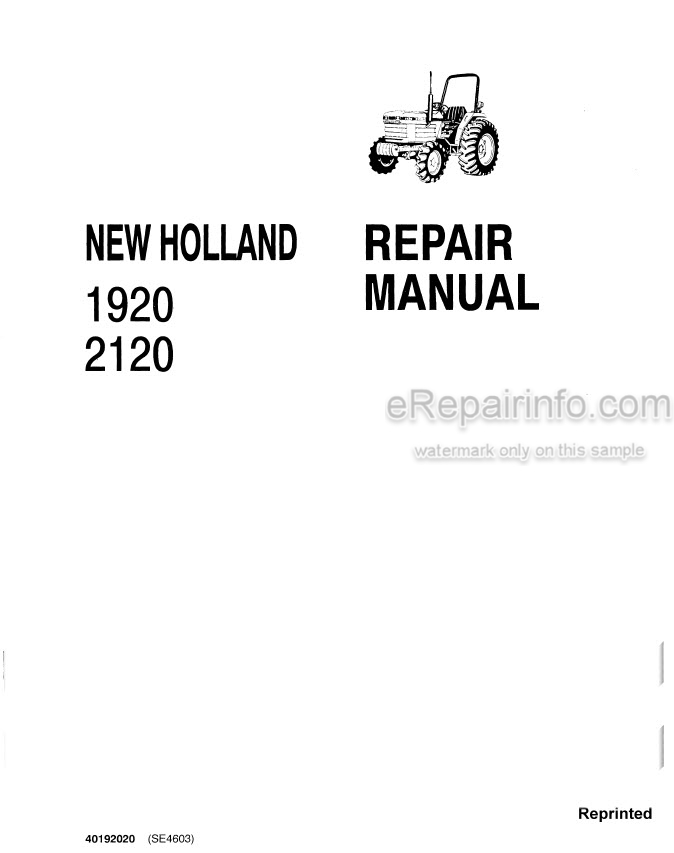 New Holland 1920 2120 Repair And Supplement Manuals