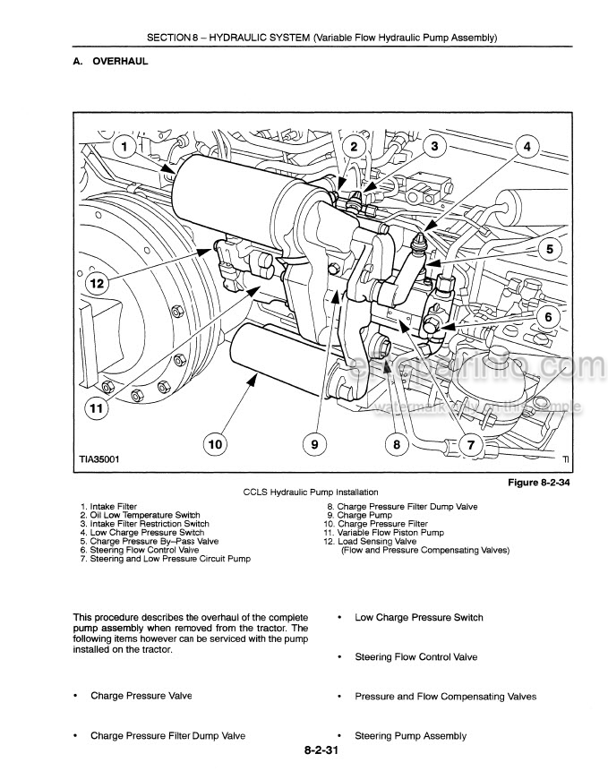New Holland 8160 8260 8360 8560 Repair Manual Tractor
