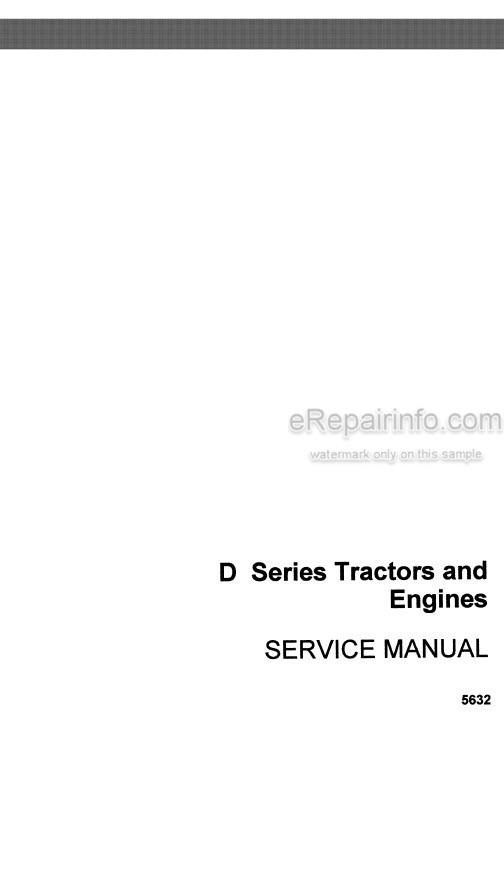 Case D Series Service Manual Tractor And Engine 5632