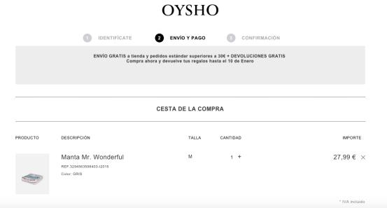 Envío y pago (1:2) - Oysho