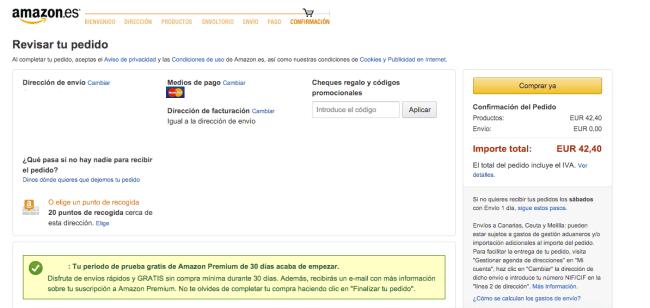 Confirmación del pedido - Amazon