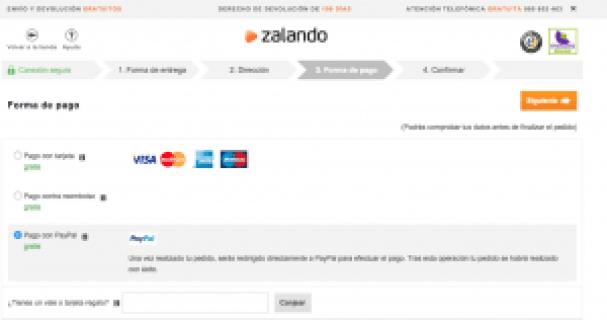 Forma de pago - Zalando