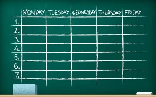 Cuadro para organizar las sesiones de estudio eficientes semanalmente.