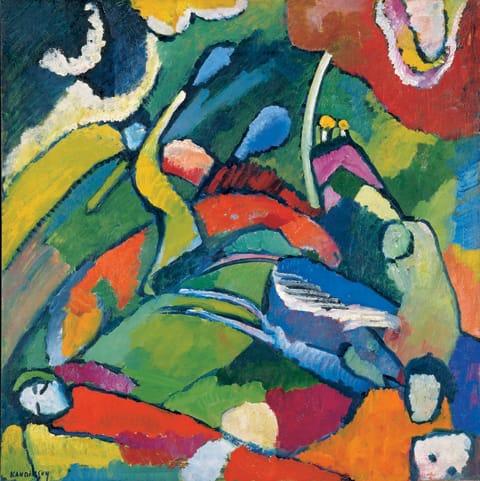 וסילי קנדינסקי - שני סייסים ואדם שוכב, 1909-10
