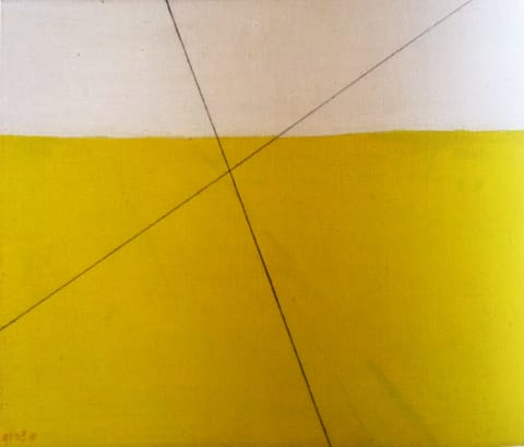 """מיכאל גרוס - איקס על מרחב, 1978. שמן ועיפרון על בד, 55/67 ס""""מ. אוסף גדעון עפרת"""