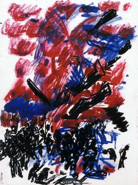 """אביבה אורי - ללא כותרת, 1985. גירי שעווה ועט על נייר, 50/72 ס""""מ"""