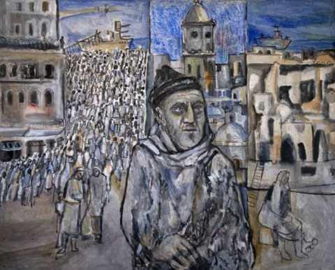 עבד עאבדי - אבא על רקע העקירה מחיפה, אקריליק על מזוניט, 1988