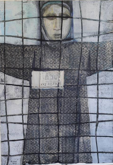 """עבד עאבדי - פאטמה אבו שורש, שב""""חית, הדפס רשת ואקריליק על נייר, 2012"""