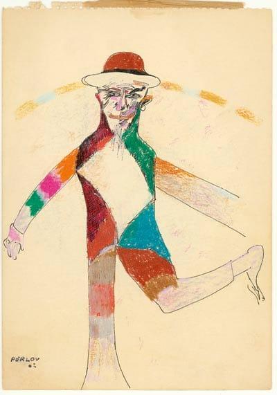 דוד פרלוב, קוסם, 1962. דיו וגירים צבעוניים על נייר, 32.5/23 ס״מ