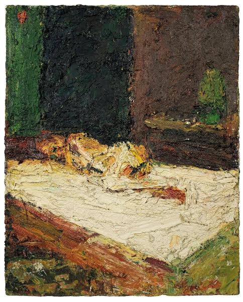 Frank Auerbach E.O.W., Nude on Bed, 1959. Oil paint on board, 775 x 610 mm. Private collection, courtesy of Richard Nagy Ltd, London © Frank Auerbach, courtesy Marlborough Fine Art