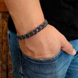 צמיד אייל שחור - צמיד כסף לגבר - ארז תכשיטים