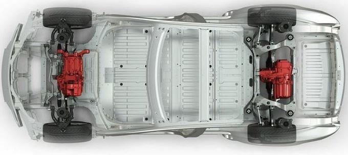 Bild vom Aufbau des Tesla Model S Dual Motor (Quelle: Tesla Motors)