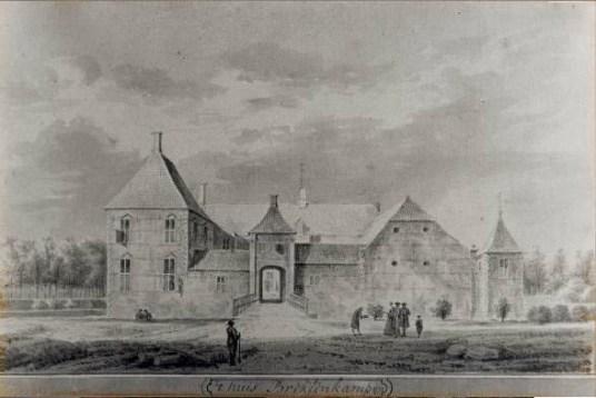 Het Huis in 1733, tekening van Abraham de Haen naar een tekening van Abraham Meyling (GldA)